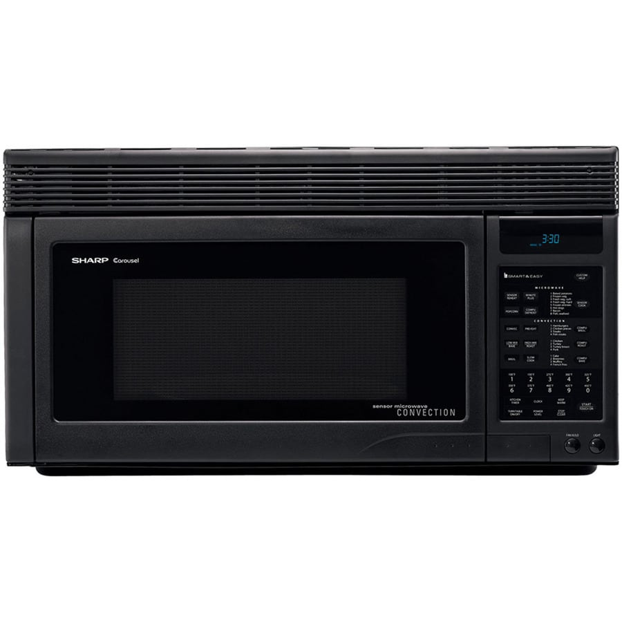 sharp 1 1 cu ft over the range convection oven microwave with sensor cooking controls black common 30 in actual 30 in