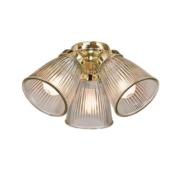 Shop Harbor Breeze 3 Light Polished Brass Compact Fluorescent Light     Harbor Breeze 3 Light Polished Brass Compact Fluorescent Light Ceiling Fan  Light Kit with Glass