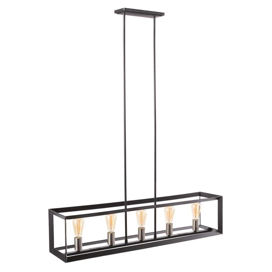 https www lowes com pd scott living hamilton matte black brushed nickel industrial lantern kitchen island light 1001299284