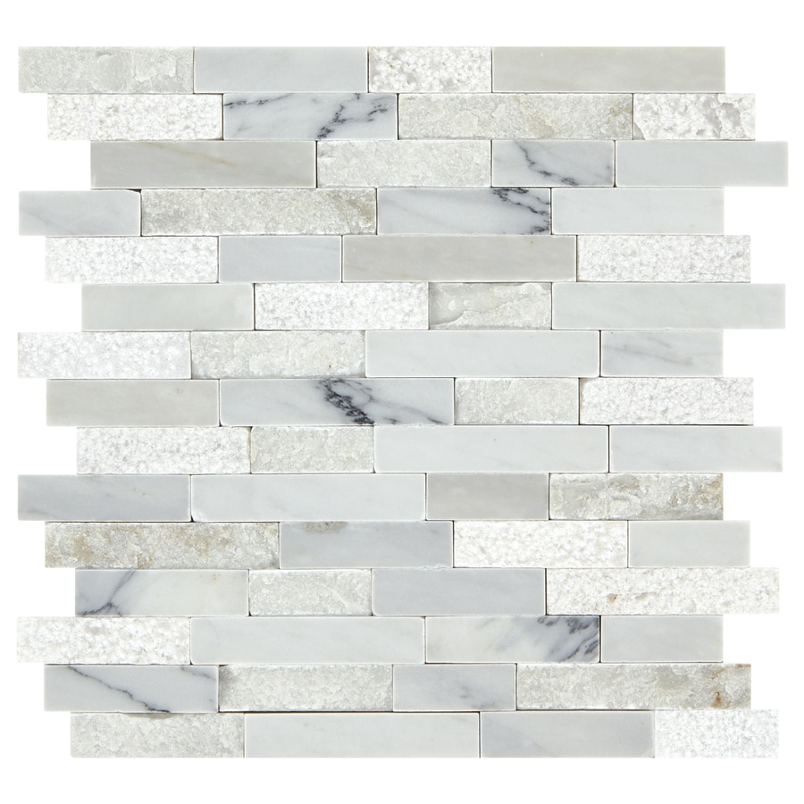 american olean genuine stone refined white 12 in x 13 in multi finish natural stone marble linear marble look wall tile