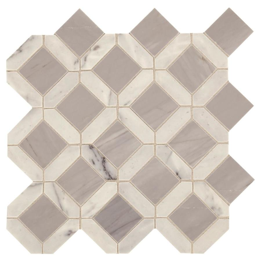 american olean genuine stone white and gray 12 in x 12 in glazed natural stone marble stone look floor and wall tile