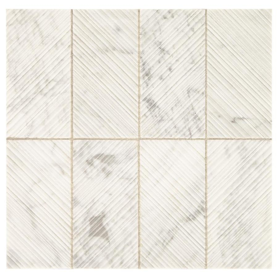 american olean genuine stone white carrara 11 in x 12 in scored natural stone marble brick stone look wall tile lowes com