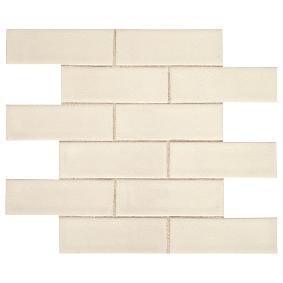 american olean union view white chevron 11 in x 14 in glazed ceramic brick wall tile