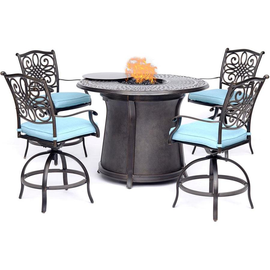 hanover traditions 5 piece bronze frame patio set with blue hanover cushion s included in the patio dining sets department at lowes com
