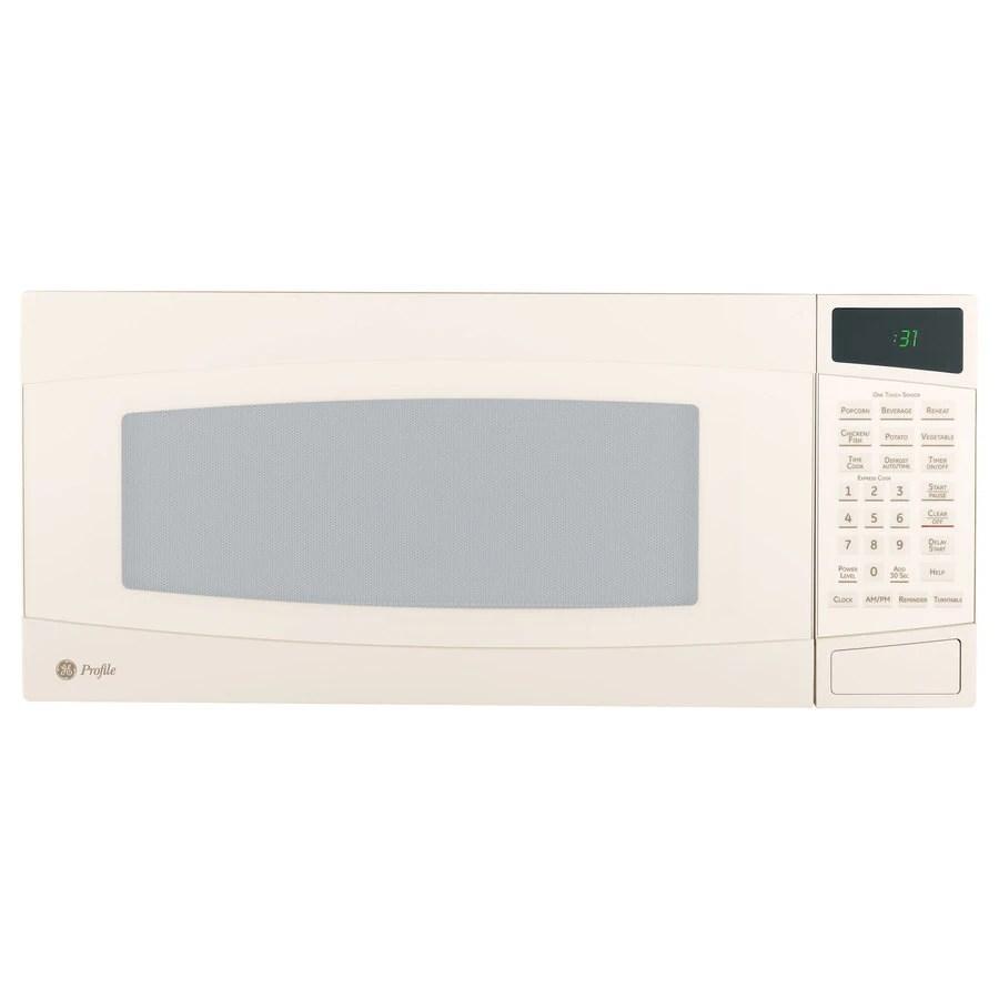 ge profile 1 cu ft 800 watt countertop microwave bisque