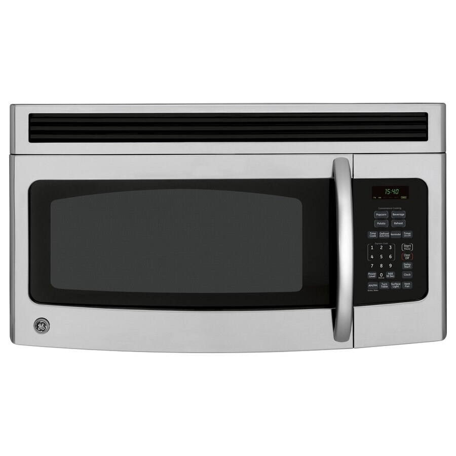 ge 1 5 cu ft over the range microwave stainless steel black