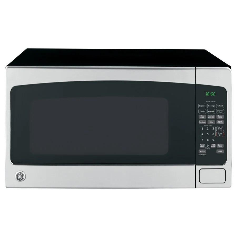 ge 2 cu ft 1200 watt countertop microwave stainless steel lowes com
