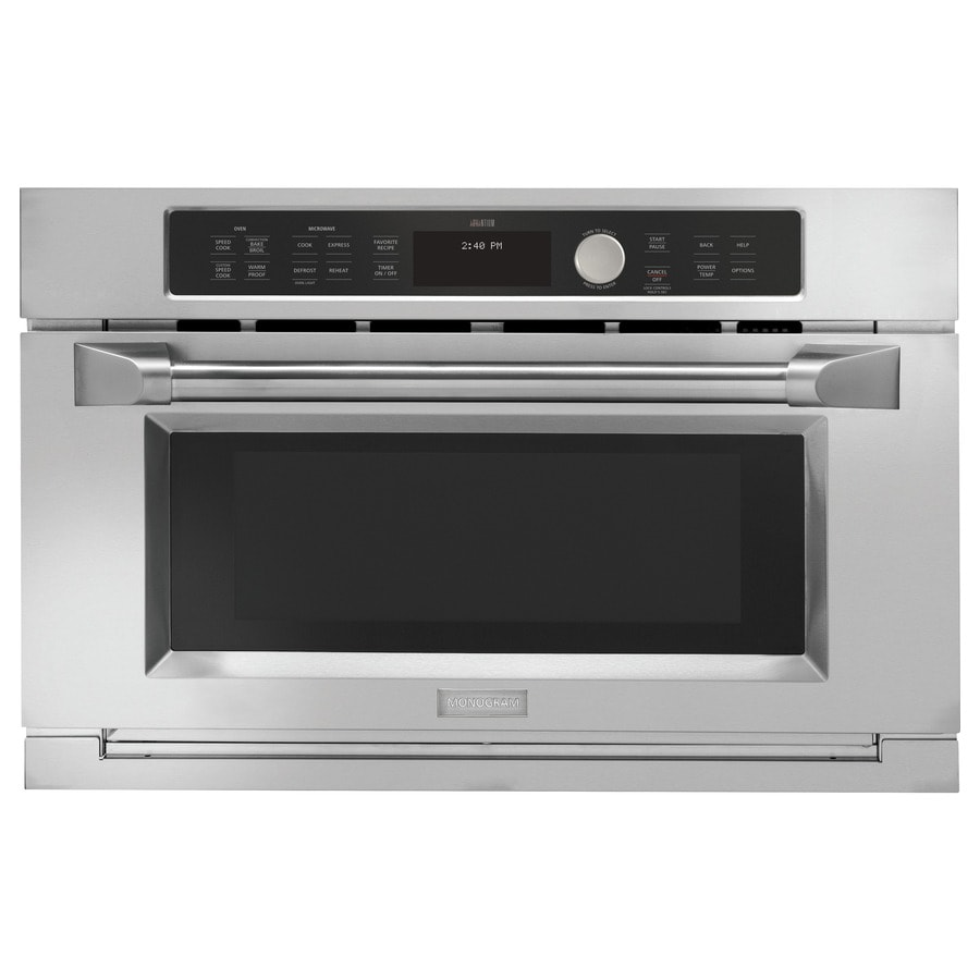 monogram 1 6 cu ft built in microwave with sensor cooking controls and speed cook stainless steel
