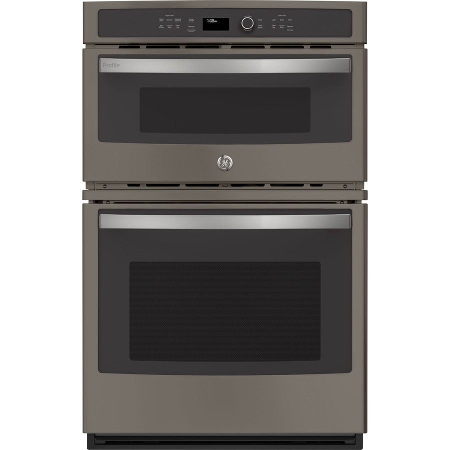 ge profile 27 in self cleaning convection european element microwave wall oven combo metallic look lowes com