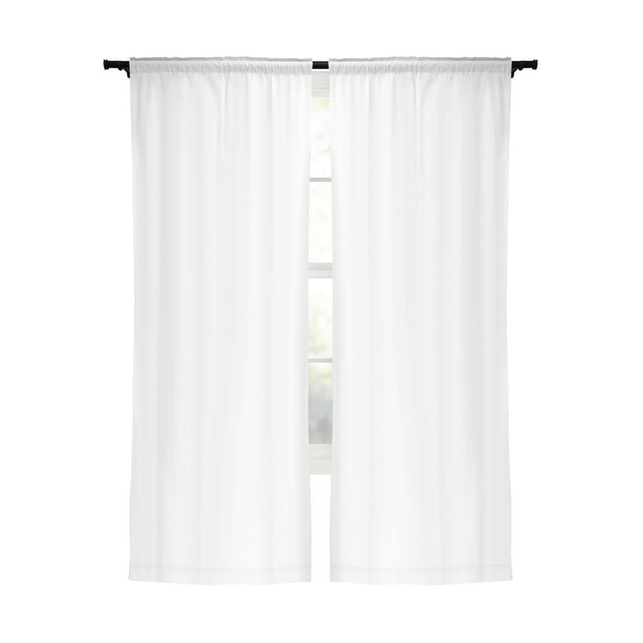 Shop Style Selections Energy 80 In White Polyester Rod Pocket Blackout Curtain Panel Pair At
