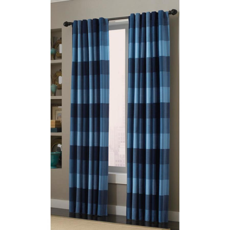 allen roth emilia 84 in blue polyester back tab light filtering standard lined single curtain panel lowes com