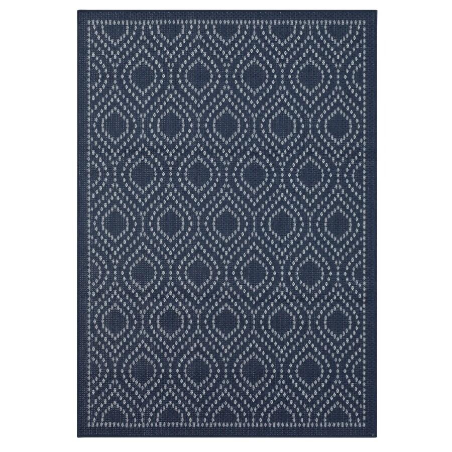 allen roth outdoor 5 x 7 navy indoor outdoor medallion bohemian eclectic area rug