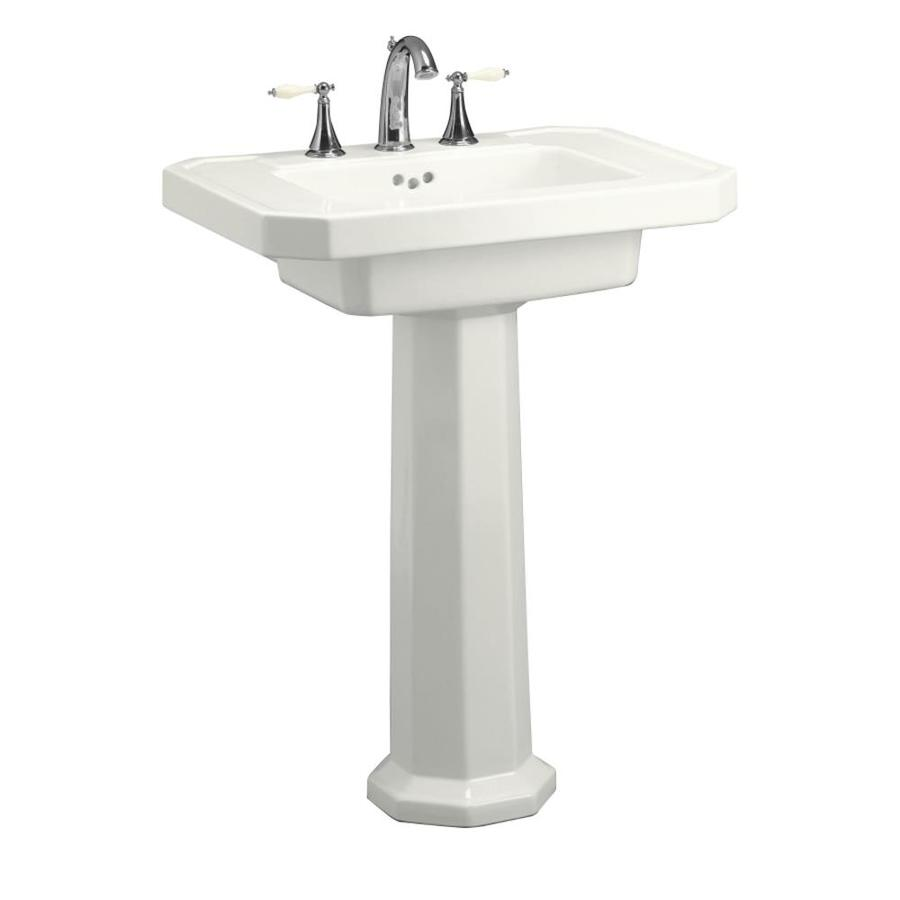 white fire clay pedestal sink combo