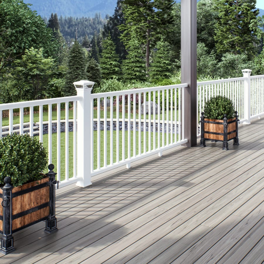 deckorators grab and go 6 ft x 2 75 in x 42 in white composite deck rail kit square balusters included assembly required