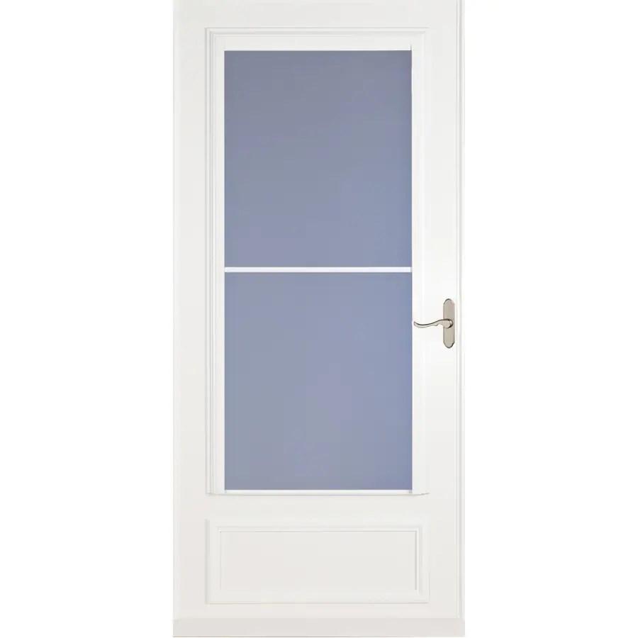 larson savannah 36 in x 81 in white mid view wood core storm door