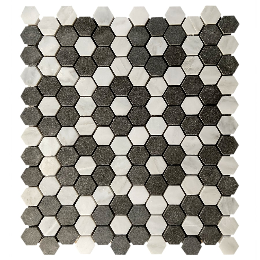 gbi tile stone inc cloe black and white 10 pack black and white 10 in x 12 in honed natural stone marble circular floor and wall tile