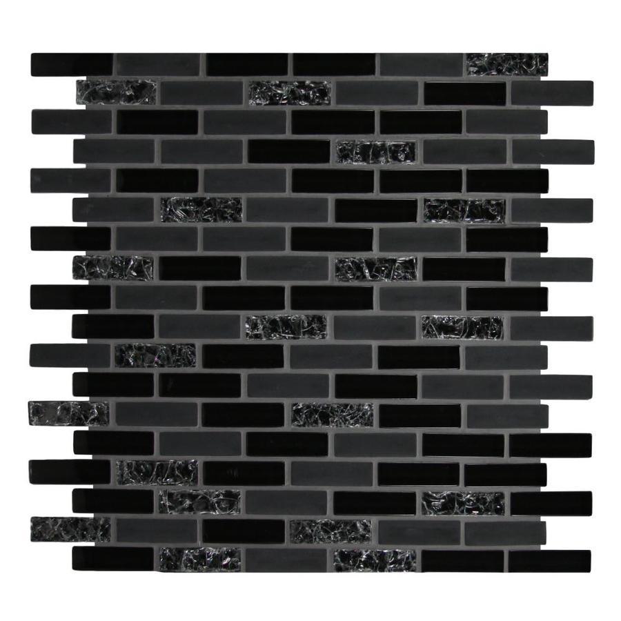 gbi tile stone inc gemstone black 12 in x 12 in glossy glass brick subway wall tile