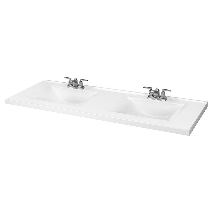 61 in white cultured marble double sink bathroom vanity top lowes com