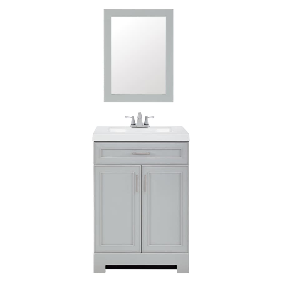 style selections 24 in gray single sink bathroom vanity with white cultured marble top mirror and faucet included