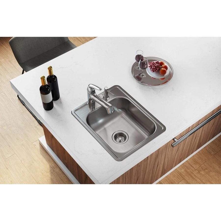 https www lowes com pd elkay dayton 17 in x 21 25 in satin single bowl drop in 3 hole commercial kitchen sink 50295935