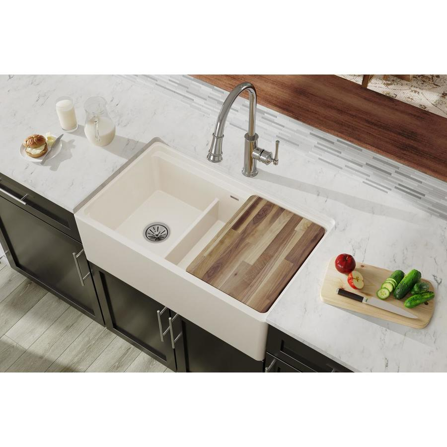elkay farmhouse apron front 33 in x 20 in biscuit double offset bowl kitchen sink