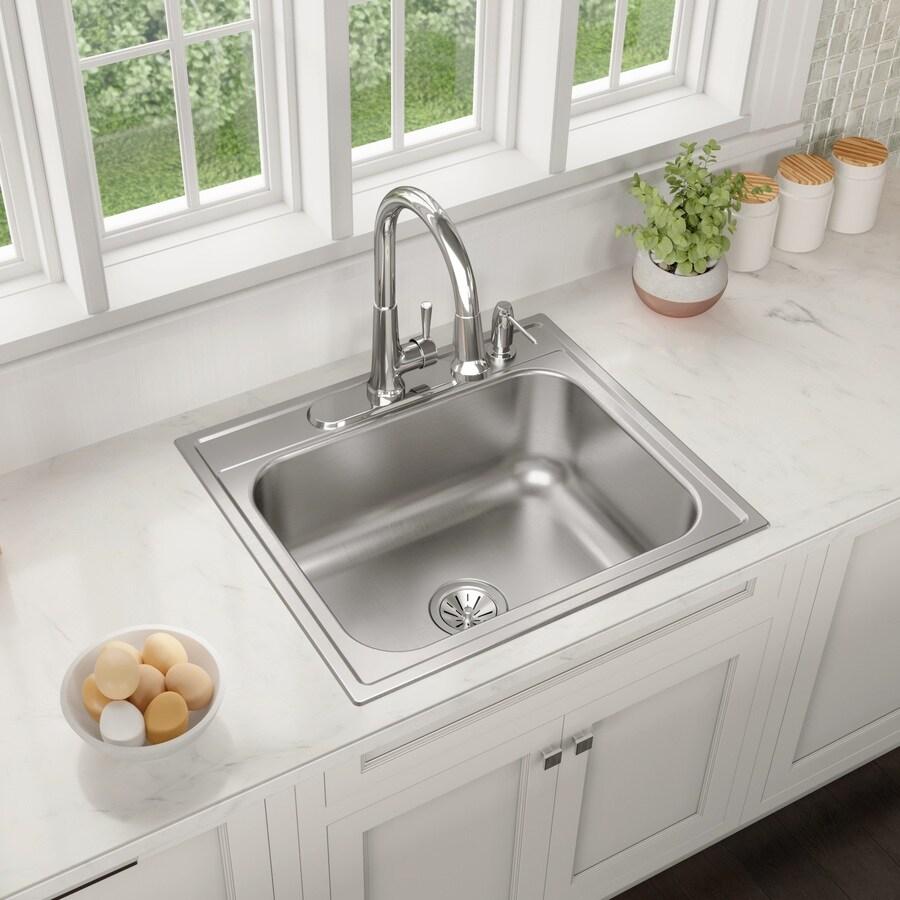 elkay drop in 25 in x 22 in satin single bowl 4 hole kitchen sink