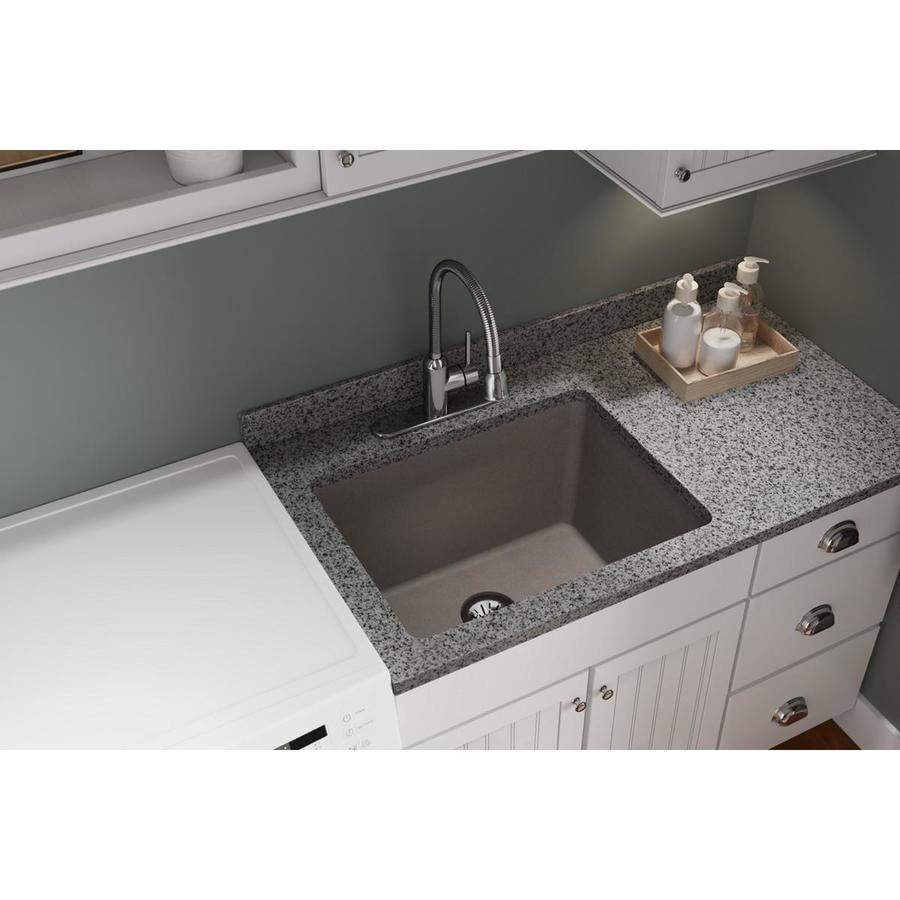 elkay quartz classic undermount 25 in x 18 5 in greige single bowl kitchen sink
