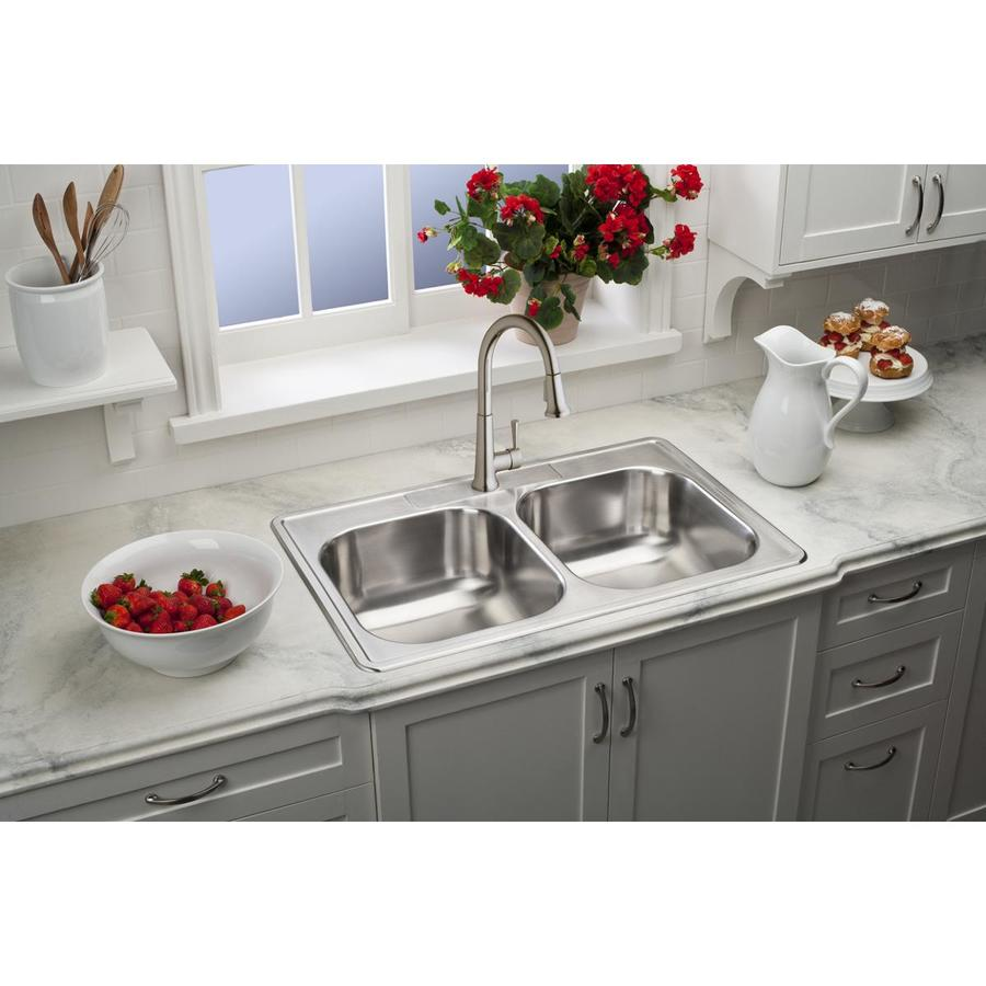 elkay dayton drop in 33 in x 22 in satin double equal bowl 1 hole kitchen sink