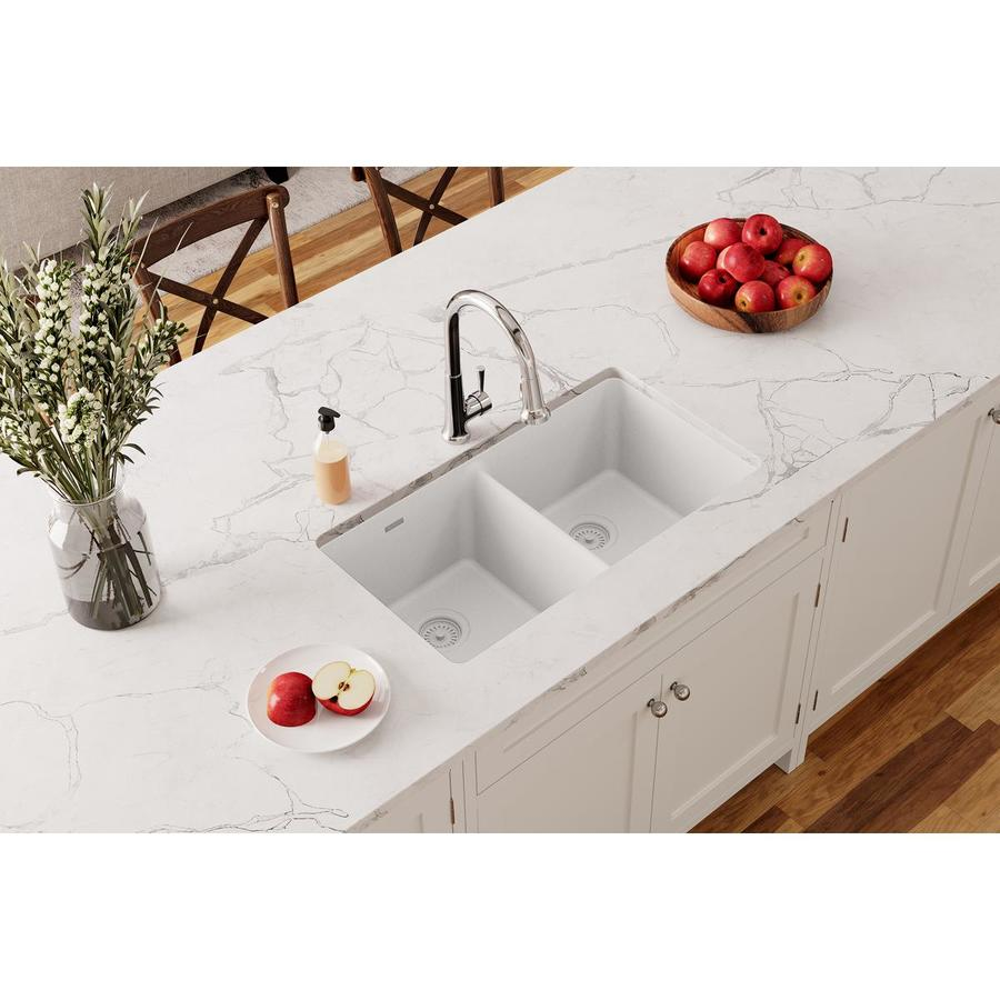 elkay gourmet undermount 33 in x 18 5 in white double equal bowl kitchen sink