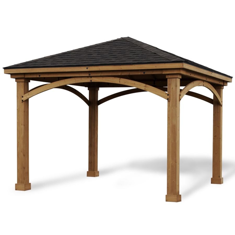 heartland cedar pavilion 12 ft w x 12 ft l x 10 ft 6 in stained cedar freestanding pergola with canopy