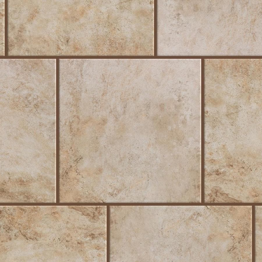 style selections mesa beige 18 in x 18 in glazed porcelain stone look floor and wall tile lowes com
