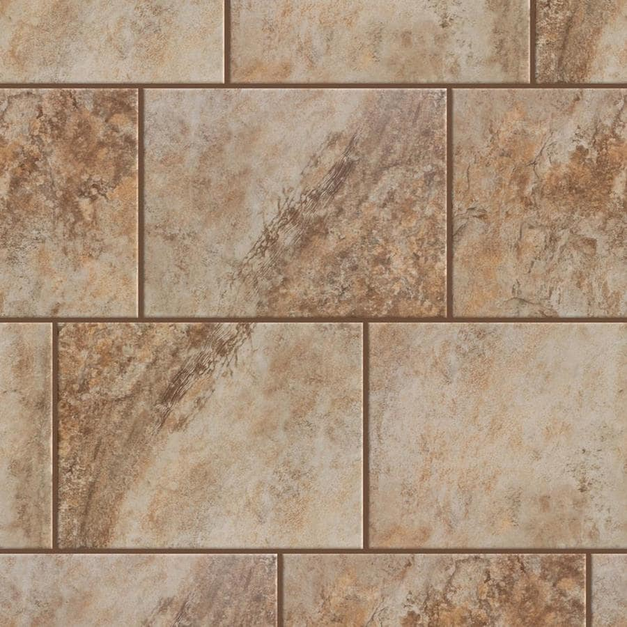 style selections mesa beige 9 in x 12 in glazed porcelain stone look floor and wall tile