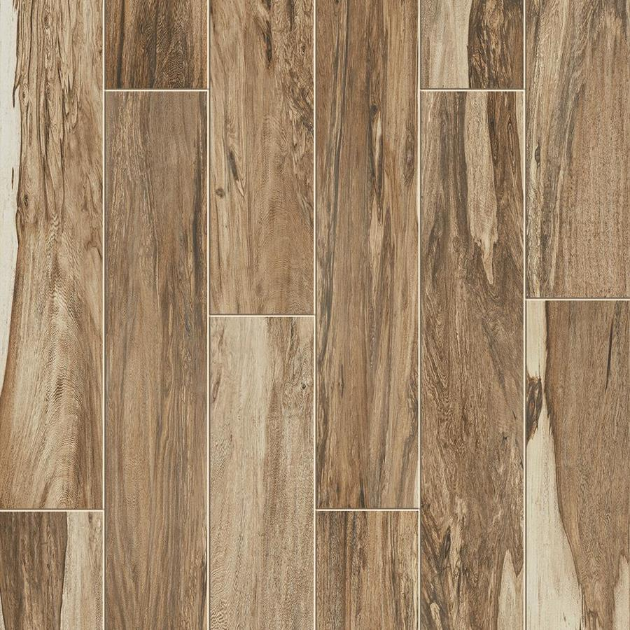style selections brazilian pecan natural 6 in x 36 in glazed porcelain wood look tile