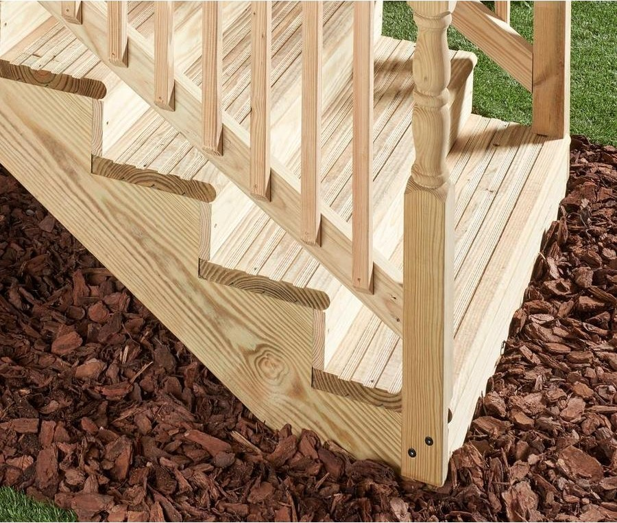 4 Step Pressure Treated Southern Yellow Pine Deck Stair Stringer | Exterior Stair Treads Lowes | Composite Decking | Blue Limestone | Pressure Treated | Handrail | Wood Stair Stringer