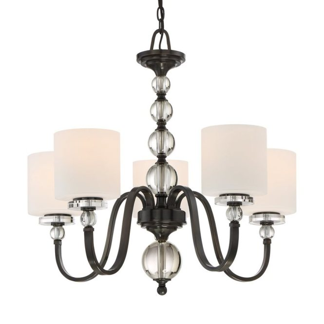 Quoizel Downtown 28 In 5 Light Dusk Bronze Etched Glass Shaded Chandelier