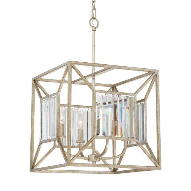 Quoizel Sabrina 16 In 4 Light Vintage Gold Crystal Cage Chandelier