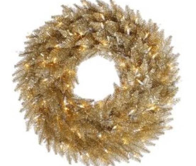 Vickerman  In Pre Lit Champagne Tinsel Artificial Christmas Wreath With White Clear Incandescent