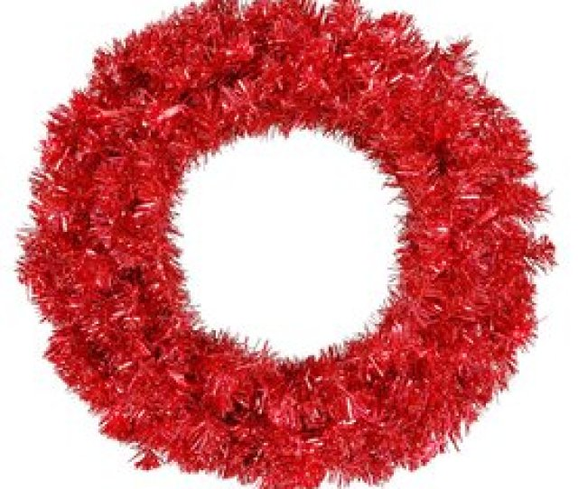 Vickerman  In Pre Lit Red Tinsel Artificial Christmas Wreath Red Incandescent Lights