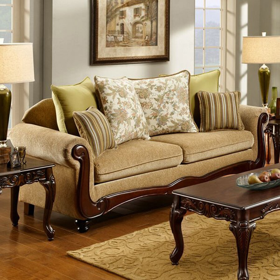 furniture of america banstead vintage tan faux leather sofa in the couches sofas loveseats department at lowes com