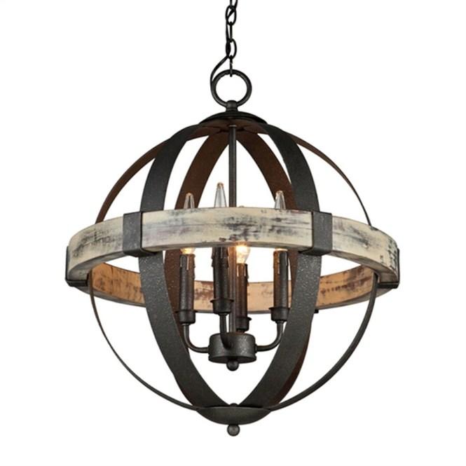Artcraft Lighting Castello 20 In 4 Light Black Aspen Wood Rustic Globe Chandelier