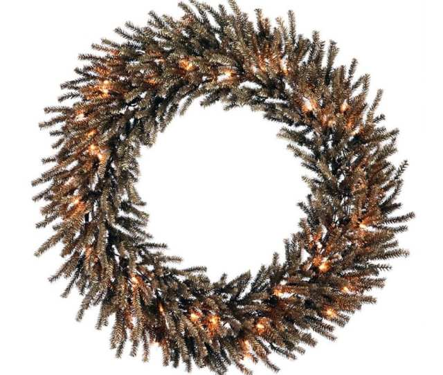 Northlight  In Pre Lit Chocolate Brown Tinsel Artificial Christmas Wreath With White Clear