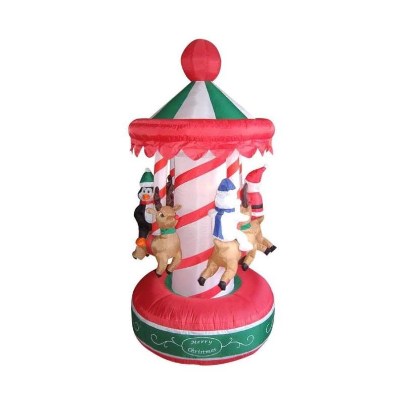 Northlight 6 5 Ft Inflatable Animated Christmas Carousel Lighted Yard Art Decoration