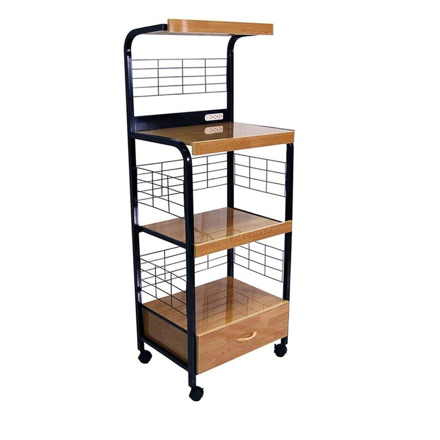ore international black metal base with wood metal top kitchen cart 17 in x 25 5 in x 59 5 in lowes com