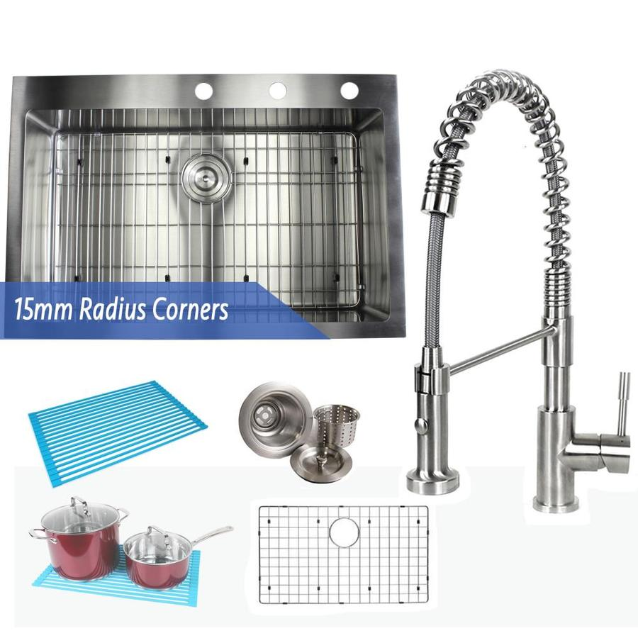 emoderndecor ariel drop in 33 in x 22 in stainless steel single bowl 3 hole kitchen sink in the kitchen sinks department at lowes com