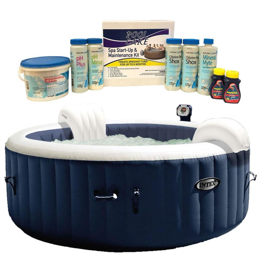intex 4 person 140 jet round inflatable hot tub in the hot tubs spas department at lowes com