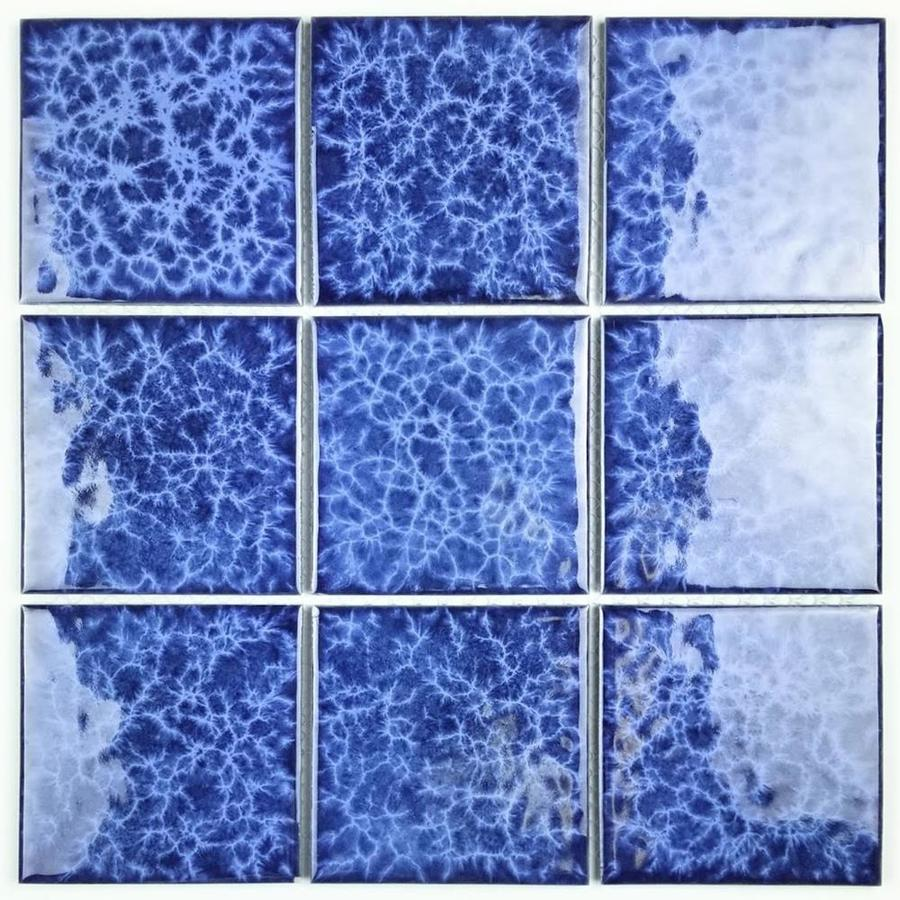 abolos monet 18 pack electric blue glossy 12 in x 12 in glossy porcelain wall tile