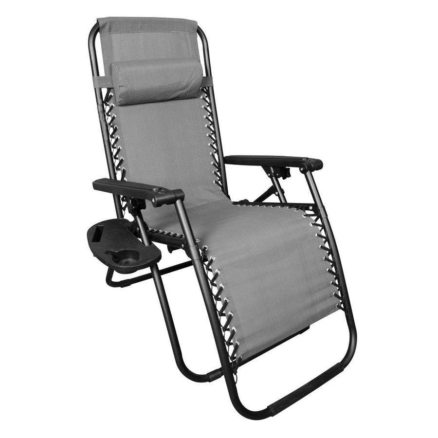 backyard expressions black metal frame zero gravity chair s with sling seat in the patio chairs department at lowes com