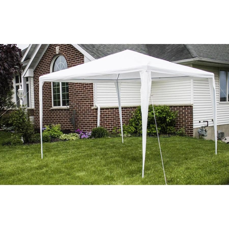 backyard expressions 10 ft l square white party canopy