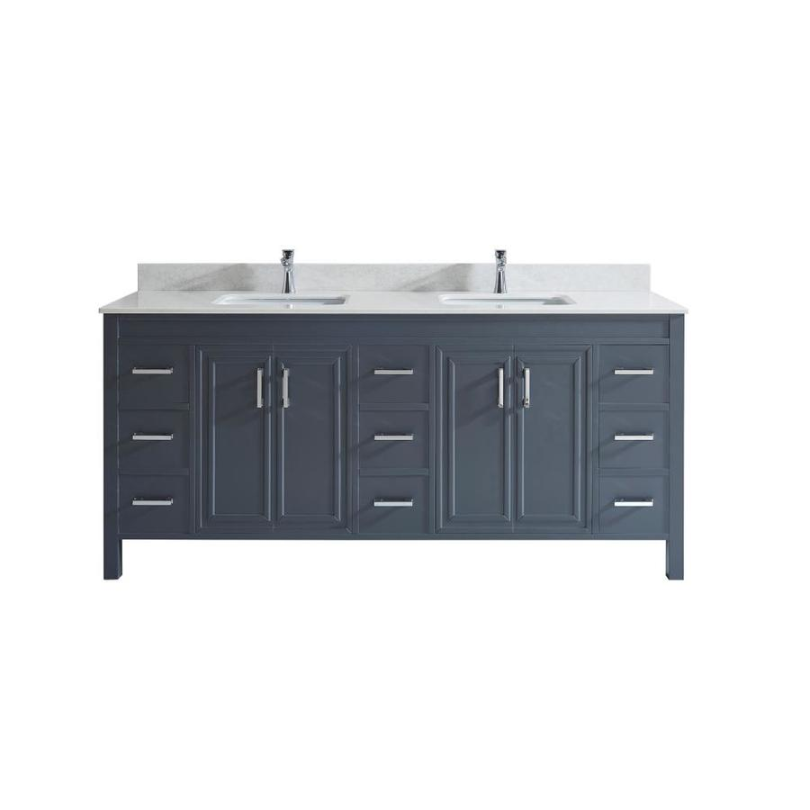 spa bathe cora 75 in pepper gray undermount double sink bathroom vanity with white and grey veins engineered stone top