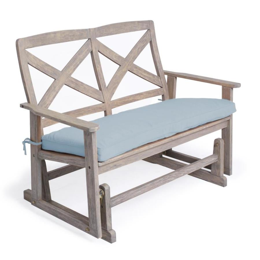 weathered gray wood outdoor glider